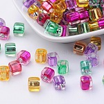 Transparent Acrylic Cube Beads, Inside Colour, Mixed Color, 7.5x8mm, Hole: 4mm; about 1500pcs/500g