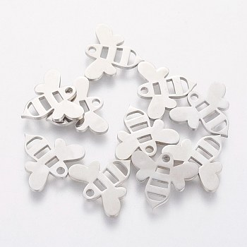 304 Stainless Steel Charms, Bee, Stainless Steel Color, 12.5x14x1mm, Hole: 1.5mm