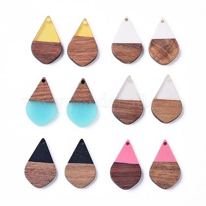 Colgantes de resina de lágrima y madera de nogalRESI-X0001-23-1