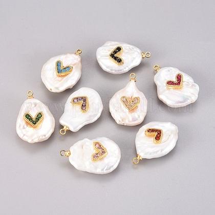 Colgantes naturales de perlas cultivadas de agua dulceKK-G391-29G-1