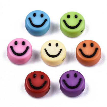 不透明なクラフトアクリルビーズ  笑顔とフラットラウンド  ミックスカラー  7x3.5mm  穴:1.5mm、約410個/50gX-MACR-S369-003B-02-1