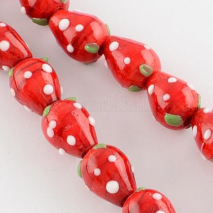 Handmade Lampwork 3D Strawberry BeadsLAMP-R109B-15-1