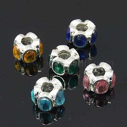 Rondelle Alloy Beads with Acrylic RhinestoneGACR-Q003-M-1