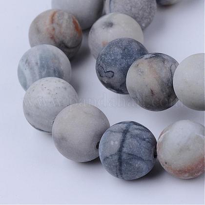 Natural Picasso Stone/Picasso Jasper Beads StrandsG-Q462-6mm-02-1