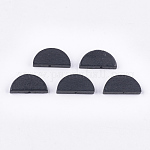Painted Natural Wood Beads, Semicircle, Black, 10x20x4mm, Hole: 1.5mm