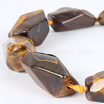 Natural Tiger Eye Gemstone Bead Strands, Nuggets, 22~38x15~30x8~20mm, Hole: 2mm; about 10~17pcs/strand, 16.54 inches