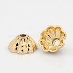 Capuchons de perles en alliage de ton or clair sans nickel et sans plomb, Plaqué longue durée, 8 pétales, fleur, 17x8mm, Trou: 3mm