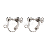 Brass Clip-on Earring Findingsfor Non-Pierced Ears, Platinum Color, Nickel Free, about 13.5mm wide, 17mm long, 5mm thick, Hole: about 1.2mm