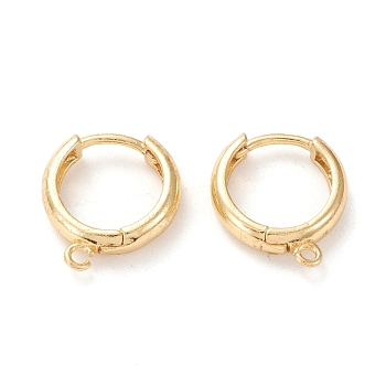 Brass Hoop Earring Findings, with Loop, Ring Shape, Real 18K Gold Plated, 15.5x14x4.5mm, Hole: 1.2mm; Pin: 1mm