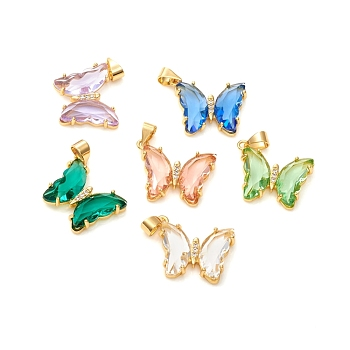 Glass Pendants, with Brass Clear Micro Pave Cubic Zirconia, Butterfly, Golden, Mixed Color, 24x21x4mm, Hole: 5.5x3.5mm