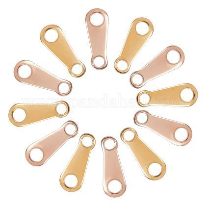 Unicraftale 2 colores alrededor de 200 piezas pestañas de cadena de caída conectores extensores de cadena de acero inoxidable cadena final de oro rosa y dorado terminadores de encantos de caída conectores de encanto para hacer joyasSTAS-UN0007-45-1