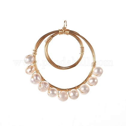 Colgantes naturales de perlas cultivadas de agua dulcePALLOY-JF00391-02-1
