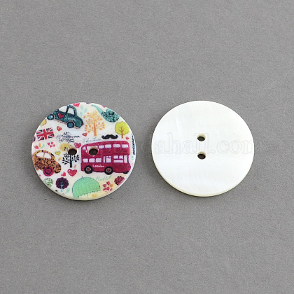 Flat Round 2-Hole Printing Sewing Freshwater Shell Buttons SHEL-S241-18-1