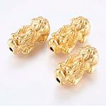 Матовые латунные бусины, реальный 18k позолоченный, дракон, золотые, 30.5x16x13 мм, отверстие : 3 мм