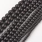 Black Stone Beads Strands, Dyed, Round, 4~10mm, Hole: 1mm; about 37~89pcs/strand, 15