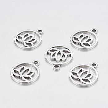 Tibetan Style Filigree Alloy Pendants, Flat Round with Lotus, Cadmium Free & Lead Free, Antique Silver, 24x20x1.5mm, Hole: 2.3mm
