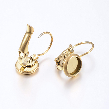 304 Stainless Steel Leverback Earring Findings, Flat Round, Golden, Tray: 8mm; 18x10mm, Pin: 0.8mm