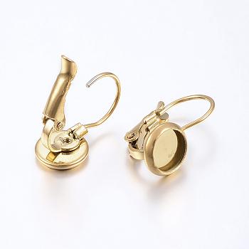 Fornituras del pendiente de 304 acero inoxidable, plano y redondo, dorado, Bandeja: 8 mm; 18x10 mm, pin: 0.8 mm