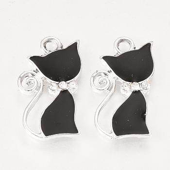 合金エナメルラインストーン子猫ペンダント  猫のシルエット形状  プラチナ  ブラック  24x14x2mm  穴:2mm