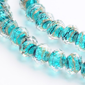 Cyan Handmade Gold Sand Lampwork Rondelle Beads Strands, Faceted, Cyan, 12x9mm, Hole: 1mm; 40pcs/strand, 15.4""