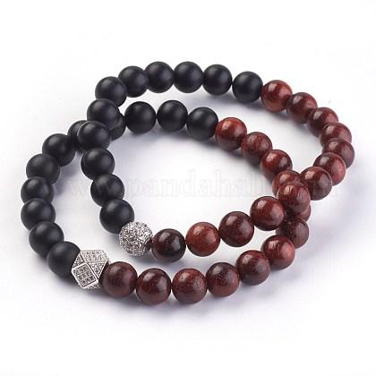 Natural Black Agate and Sandalwood Stretch Bracelets SetsBJEW-JB03937-1