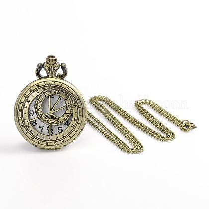 フラットラウンド合金クォーツ懐中時計WACH-N039-03B-1