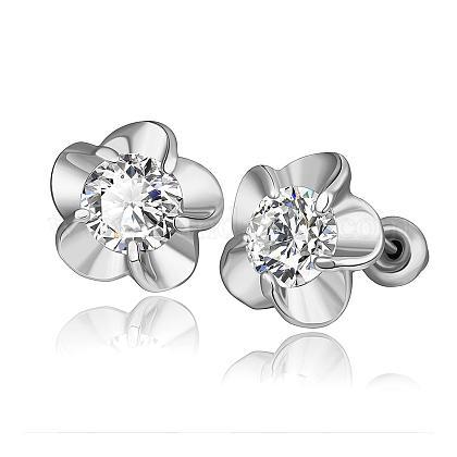 Elegant Fashion Flower Tin Alloy Rhinestone Stud EarringsEJEW-BB07820-P-1