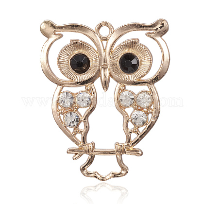 Light Gold Plated Alloy Rhinestone Owl Large Pendants ALRI-J005-01KCG-1