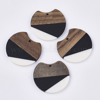 Colgantes de resina de dos tonos y madera de nogalRESI-Q210-011A-B01-1