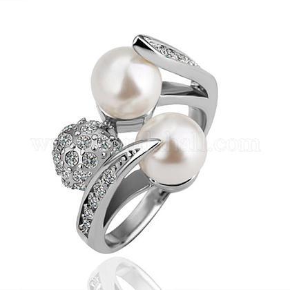 Anillos de dedo de perlas de imitación redondos de aleación de estaño respetuosos del medio ambiente chapados en platino real para fiestaRJEW-BB14376-7P-1