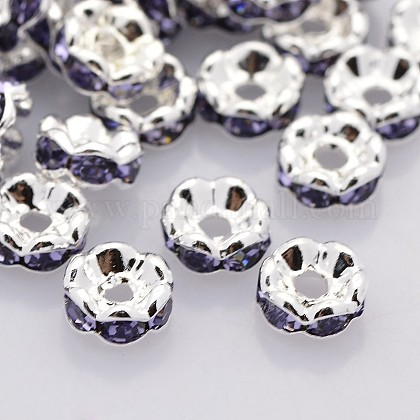 Brass Rhinestone Spacer Beads RB-A014-L6mm-18S-NF-1