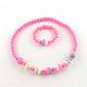 Flower Acrylic Pendant Necklaces and Stretch Bracelets Jewelry SetsSJEW-R048-04-4