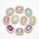 Glass Rhinestone Cabochons, with Rose Gold Plated Alloy, Faceted, Oval, Mixed Color, 22.5x18.5x5mm