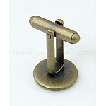 Brass Cuff Button, Cufflink Findings for Apparel Accessories, Nickel Free, Antique Bronze, Tray: 16mm; 27x18mm