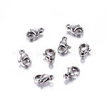 304 Stainless Steel Lobster Claw Clasps Jewelry Making Findings, Stainless Steel Color, 10x6x3mm