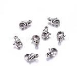 304 acero inoxidable fornituras de pinzas de langosta para hacer joyas, color acero inoxidable, 10x6x3mm, agujero: 1.5 mm