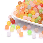 Imitation Jade Acrylic Beads, Round, Mixed Color, 8mm, Hole: 2mm; about 1666pcs/500g