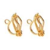 Brass Clip-on Earring Findings, for Non-Pierced Ears, Golden, 13x6x7mm, Hole: 1mm