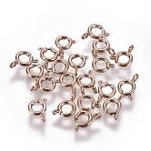 Вакуумное покрытие 304 застежка с пружинным кольцом из нержавеющей стали, розовое золото , 5x1.5 мм, отверстие : 1.5 мм