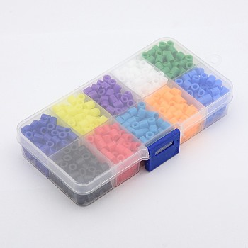 1Box PE DIY Melty Beads Fuse Beads Refills, Tube, Mixed Color, 5x5mm, Hole: 3mm