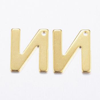 Encantos de 304 acero inoxidable, letter.n, dorado, 11x9x0.8mm, agujero: 1 mm