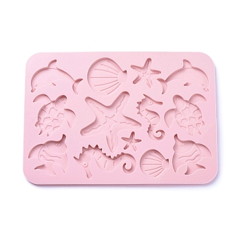 Marine Organism Food Grade Silicone Molds, Baking Molds, for Chocolate, Candy, Biscuits, Soap Molds, Pink, 234x166x7.5mm