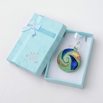 PaleTurquoise Box-packed Handmade Dichroic Glass Pendants, Half Round Lampwork Pendant with Random Color Exquisite Cardboard Necklace Box, PaleTurquoise, 29~31x11.5~12.5mm, Hole: 5~7mm