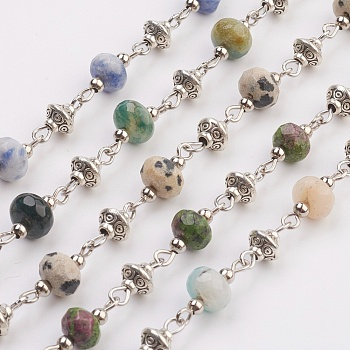 Mixed Stone Natural Gemstone Beads Handmade Chains, Unwelded, with Iron Spacer Bead, Tibetan Style Bead, Iron Eye Pin, Faceted, 17x7.5mm; 39.37 inches(1m)/strand