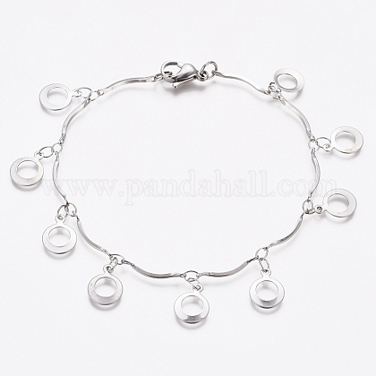 304 brazalete con anillo de acero inoxidableBJEW-G628-07P-1