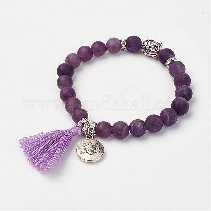 Natural Amethyst Beads Stretch BraceletsBJEW-JB02812-05-1