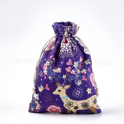 Polycotton(Polyester Cotton) Packing Pouches Drawstring BagsABAG-T007-02G-1