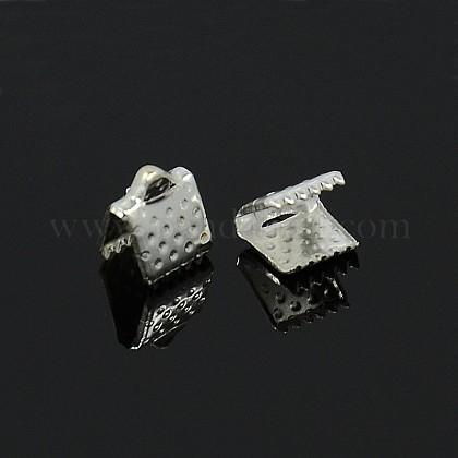 アイアン製カシメリボン止めエンドパーツE004Y-S-1