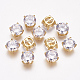 Brass Cubic Zirconia Pendants, Multi-strand Links, Flat Round, Real 18K Gold Plated, 9x9x6mm