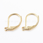 304 Stainless Steel Leverback Earring Findings, with Loop, Golden, 10x15x2mm, Hole: 1mm